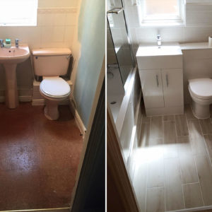 Bathroom refit before and after.