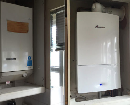 New combination boiler installed in a kitchen cupboard before and after.