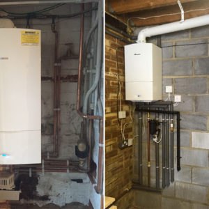 New combination boiler installation in a garage and basement.