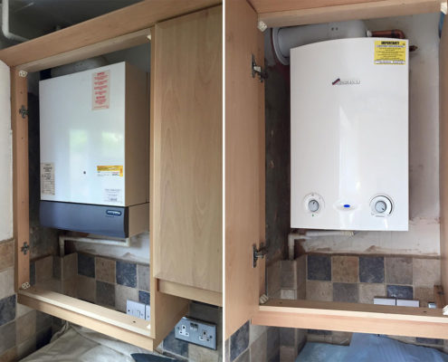 Conventional boiler installation before and after.