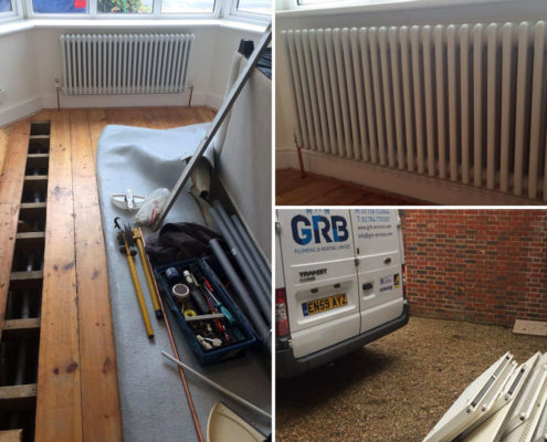 Relocating and Fitting customer supplied designer radiators.